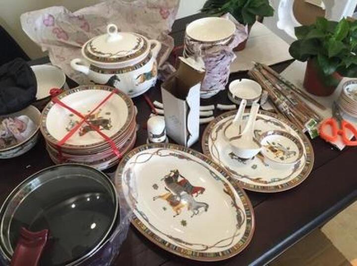 SHLP 餐具套装 景德镇陶瓷器 58头骨瓷餐具套装碗套装马到成功 58件马到功成(宫廷煲配2面碗 晒单图