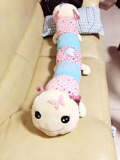 唯米 抱枕可爱毛绒玩具毛毛虫长抱枕布娃娃创意礼品抱枕公仔生日礼物七夕情人节礼物 带触角蓝色 长115厘米 晒单图