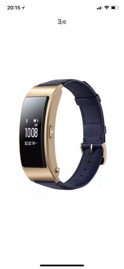 华为(HUAWEI)华为手环B3 (蓝牙耳机与智能手环结合 金属机身 触控屏幕 真皮腕带) 商务版 静谧蓝 晒单图
