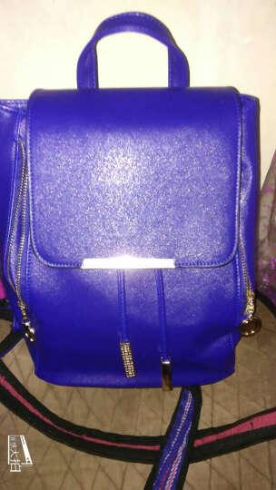 MaithBot双肩包 女时尚韩版女包潮流书包流苏吊坠背包简约包盖式女士包包 蓝色 晒单图