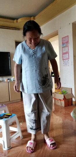 秋芙罗中老年女装套装夏季短袖妈妈装夏装老年人女居家服两件套宽松奶奶装上衣+裤子FL8295 蓝色 2XL【适合110-125斤】 晒单图