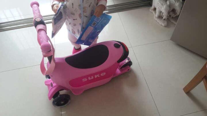 速客三合一滑板车1-3岁可升降四轮闪光折叠儿童旅行箱滑行车可坐扭扭车2-6岁滑滑车 粉色普通款 晒单图