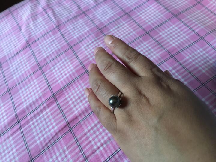 黛米珍珠 正圆 大溪地黑珍珠设计款可调节 珍珠戒指女 送老婆 珂瑶 情人节礼物 9-10mm设计款【现货】 晒单图