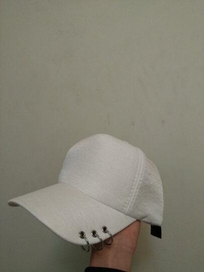 杰英仕新款韩版权志龙同款帽子个性别针破洞棒球帽鸭舌帽子时尚男女潮遮阳帽 白色 晒单图