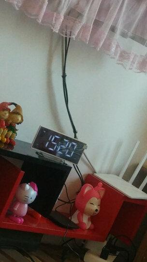 香港设计廊 NiD数字投影闹钟 led夜光收音机USB手机充电功能时计床头钟表大字体(时间投影功能) 白壳蓝灯 晒单图
