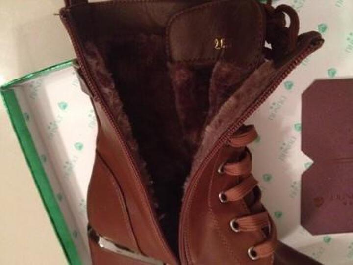 百洛思 女靴短靴秋冬上新马丁靴踝靴女鞋粗跟高跟鞋长靴子 9185-红色 标准码-39 晒单图