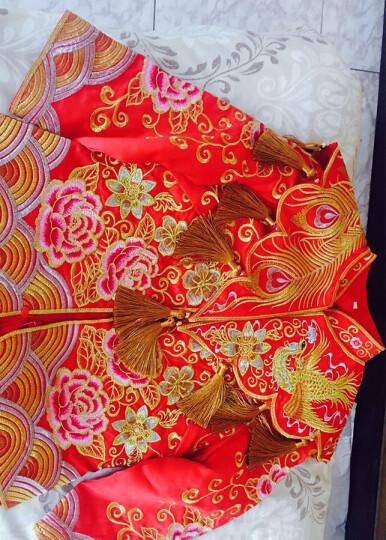 秀禾服新娘结婚礼服2020新款龙凤褂中式嫁衣红色敬酒服孕妇大码秀和服 金色流苏+蝴蝶饰品 L码 晒单图