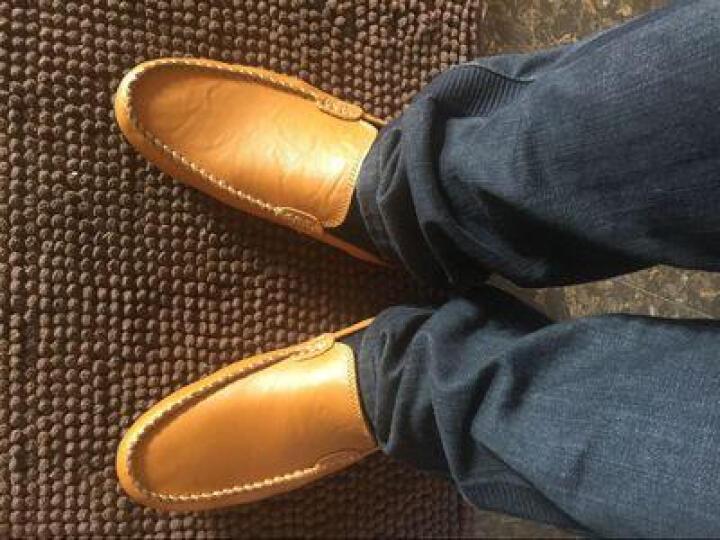 卡梅猫carme cat男鞋真皮豆豆鞋男透气休闲鞋男士商务皮鞋流行驾车鞋套脚英伦男鞋时尚潮 黄色 40码 晒单图