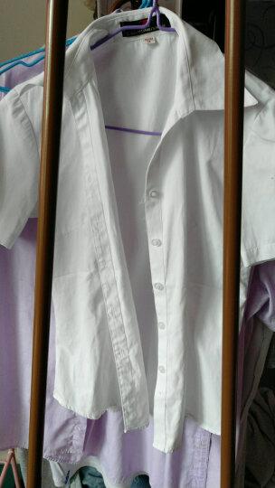 广服 职业衬衫女加绒2018装新款OL女士修身白色v领韩版正装纯色打底衬衣短袖 白色长袖-无绒0656 160/M 晒单图