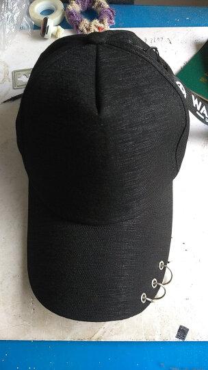 杰英仕新款韩版权志龙同款帽子个性别针破洞棒球帽鸭舌帽子时尚男女潮遮阳帽 黑色 晒单图