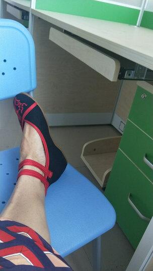 漫呦呦老北京绣花鞋布鞋女坡跟内增高民族风广场舞鞋妈妈鞋 红色 35 晒单图