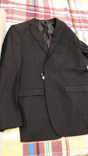 纱格 西服套装男士商务修身正装职业工作西装新郎结婚礼服 藏青色2扣 180/50 晒单图