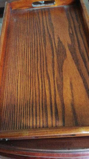 唐宗筷 实木端菜盘托盘 茶杯托盘 长方形茶盘子 酒店用端菜盘 茶色木盘子 手提托盘 中号 45*27*3.5cm 晒单图