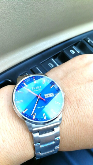 瑞士宝梵哲(PVANZ)品牌手表男士机械表全自动商务防水原装进口手表 P1A3D1蓝面钢带 晒单图