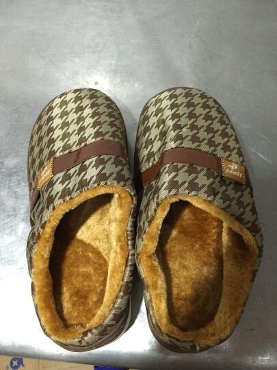 好宜购男士棉拖鞋 男女冬季情侣包跟防滑厚底居家保暖鞋 PU-咖啡色 300mm(适合43-44码穿) 晒单图