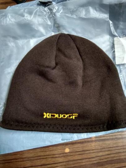 喜多尚品加绒帽子男女冬韩版潮滑雪帽抓绒针织毛线帽 咖色 晒单图