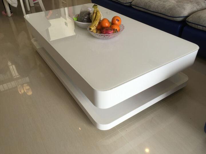 恋维斯 现代烤漆圆角茶几时尚简约2012客厅创意白色长方形茶桌子 1.4米带玻璃+抽屉 晒单图