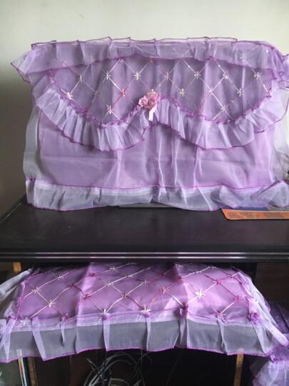 御目 电脑罩 家用台式液晶一体机台电脑防尘罩蕾丝绣花17-27寸电脑鼠标键盘音箱套件 紫色17-22寸 三件套 晒单图
