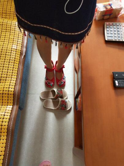 琴澜春秋季新款老北京布鞋平底绣花鞋民族风女内增高 芙蓉黑色 38 晒单图
