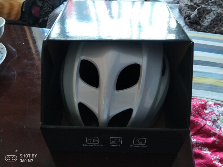 smart4u 自行车头盔男女骑行头盔一体成型蓝牙头盔音乐单车山地车公路骑行装备安全帽SH20 红白色 L(58-62cm) 晒单图