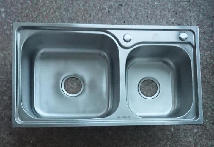 厨卫邦304不锈钢厨房水槽双槽洗碗盆洗菜盆水池菜盆洗菜池家用配件齐全304不锈钢水槽龙头套装 304-8143-12-件套 晒单图