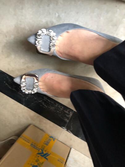 STACCATO/思加图秋季专柜同款羊皮扣饰浅口细跟女单鞋9UK20 灰色 36 晒单图