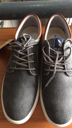 花花公子男鞋夏季新款时尚休闲鞋潮流帆布板鞋 深灰 42 晒单图