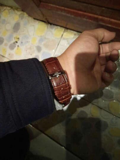 罗臣LORSSON机械男表 德国品牌幽默Humor系列 自动男士手表皮带款情侣腕表 棕带白盘金边刻度 晒单图