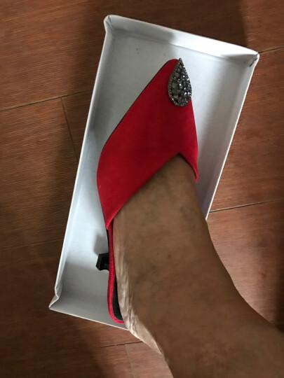 欧美新款女鞋秋夏单鞋2018高跟鞋细跟低跟女包头尖头秋 1708黄色鞋口钻石 36 晒单图