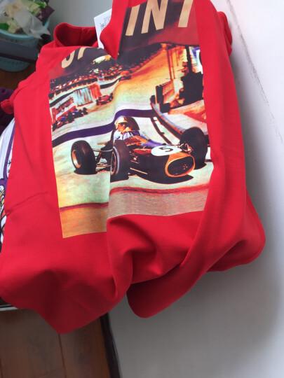 MOCO个性赛车胶印一件式T恤裙V领连衣裙MK172DRS202 非洲菊红色 L 晒单图