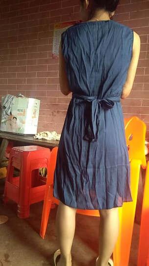 颜迪  2018夏新款韩版中长款百搭短袖打底连衣裙 时尚套装大码女F8 蓝 XL 晒单图