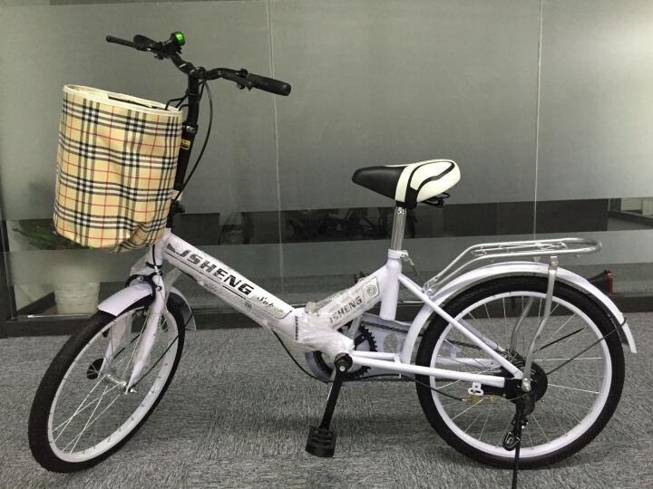 君圣 20寸便携式轻便型男女折叠自行车成人折叠车学生车迷你款自行车带减震非变速折叠车 单速至尊带减震全黑 晒单图