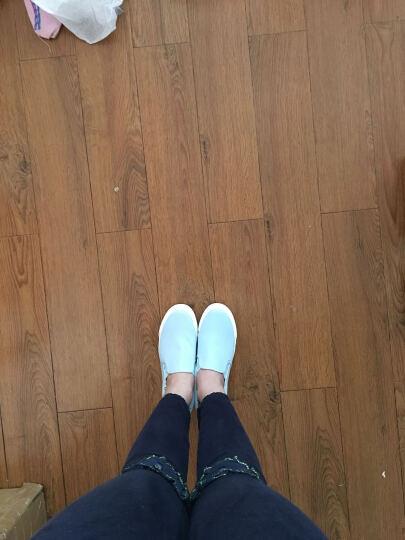 人本2018春季纯色简约休闲板鞋 春夏一脚套套脚帆布鞋 内增高女 红色 39 晒单图