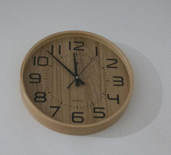 北极星(POLARIS) 时尚卧室客厅钟表日式简约家用大挂钟北欧创意静音圆形实木钟表宜家简约石英钟 大号木纹面 晒单图