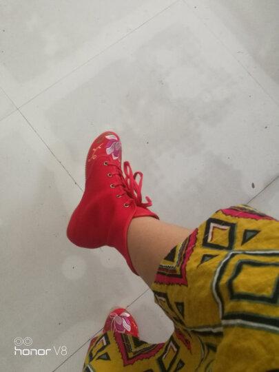 娟的绢 老北京布鞋女靴子 民族风绣花高帮鞋 内增高坡跟短靴 F880 米色-单款 39 晒单图