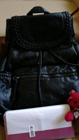 【领7折券146.3疯抢中】刻度女士双肩包 韩版时尚潮流牛皮背包大容量多功能女包 黑色 晒单图