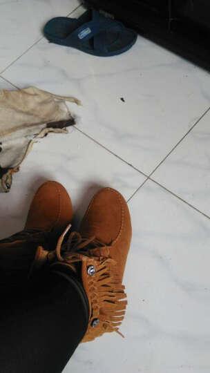 伶羊 短靴女真皮 秋季新款流苏靴保暖加毛内增高系带女靴子反绒皮女鞋 咖啡色 标准尺码脚胖放大一码 37 晒单图