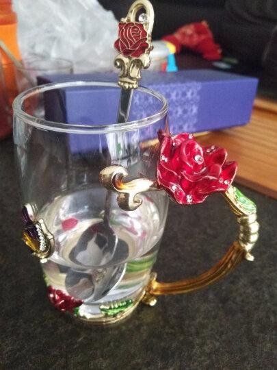 珐琅彩玻璃水杯花茶杯子果汁杯泡茶杯情侣创意实用时尚玫瑰花水晶对杯生日礼物送女友情人老婆朋友圣诞节礼品 玫瑰款高杯+珐琅勺+礼盒礼袋 晒单图