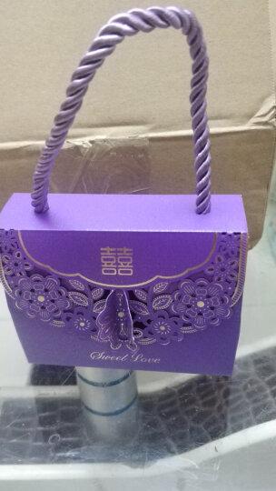 添祥缘 喜糖盒子马口铁糖盒欧式喜糖盒批发创意结婚用品 镂空手提系列-紫色小号((50个装) 晒单图