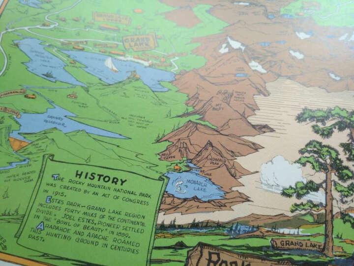 西洋古地图装饰画:落基山国家公园游览图(20寸画芯 1948年 50cm*40cm) 晒单图