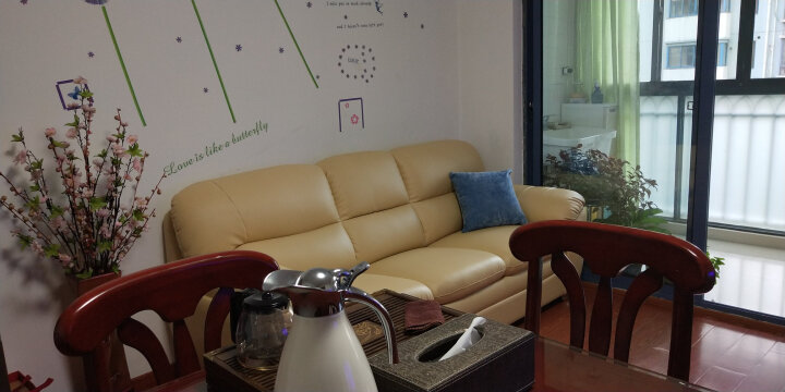 慕适 沙发 真皮沙发 现代简约沙发小户型 三人沙发 四人沙发客厅整装组合 123双人沙发办公组合 黄色真皮三人位沙发 晒单图