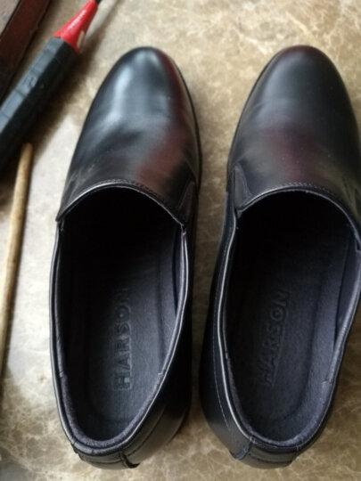 哈森男鞋 秋季牛皮低跟套脚圆头时尚商务正装鞋ML76911 黑色 38 晒单图