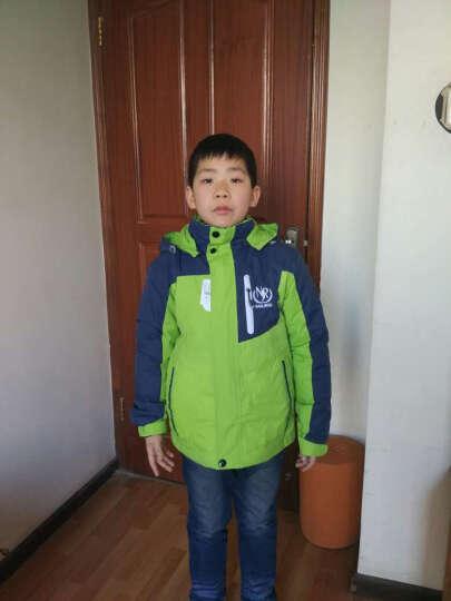 南极人(Nanjiren) 儿童户外运动冲锋衣 秋冬男童女童双层防风衣三合一两件套 宝蓝 150cm 晒单图