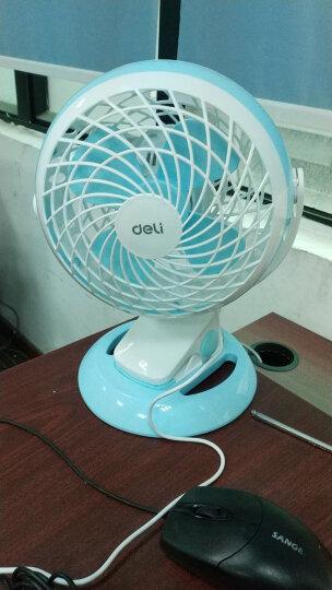 得力(deli)时尚USB桌面风扇/小风扇/电风扇/学生宿舍风扇 两档风速 台夹两用 蓝色 晒单图