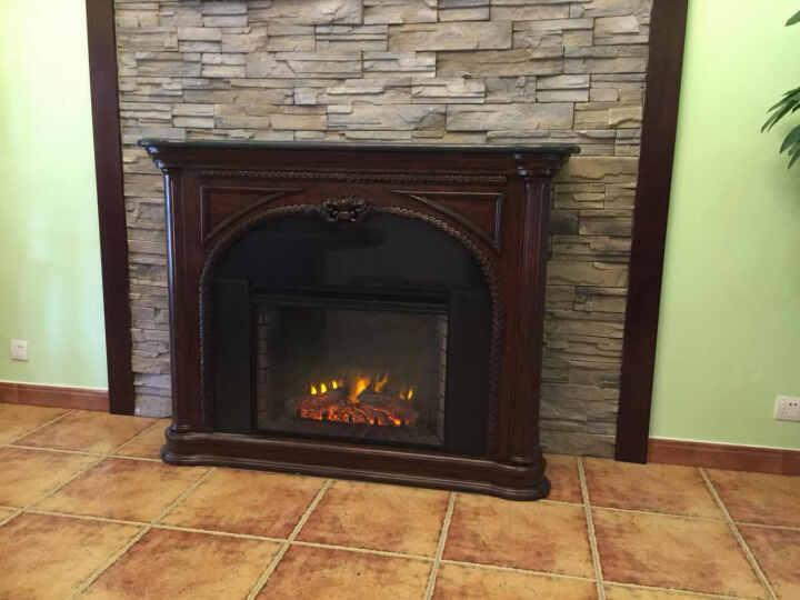 锦轩臻品 美式客厅家具 装饰柜 实木仿真火焰电子壁炉 F23717 白色 晒单图