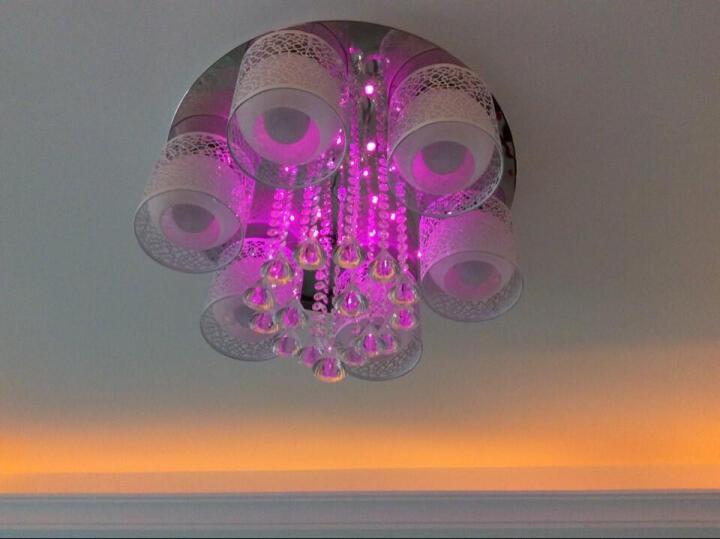健康民居LED客厅灯吸顶灯水晶灯卧室灯奢华大气客厅餐厅圆形形灯具现代简约欧韩式灯饰套餐 梦立方3头+炫彩遥控+暖光 LED灯泡 晒单图