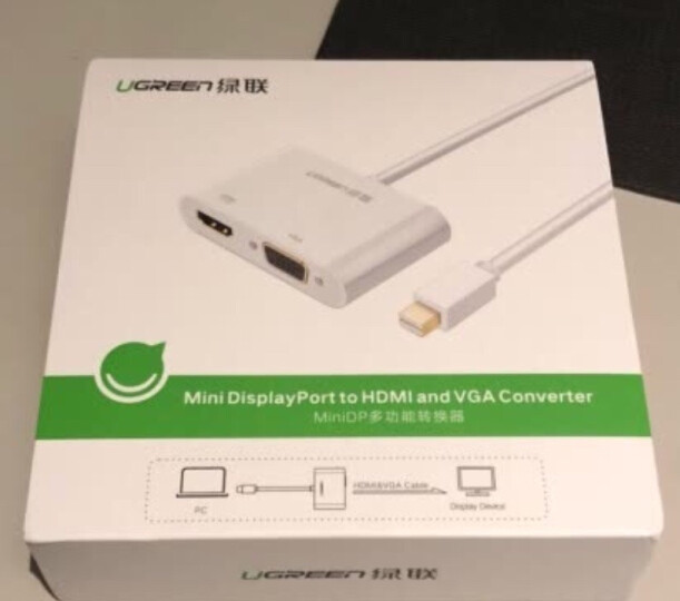 绿联(UGREEN)Mini DP转HDMI/VGA二合一转换器线 4K高清Surface扩展坞dp雷电接口 苹果Mac接显示器 黑 40365 晒单图