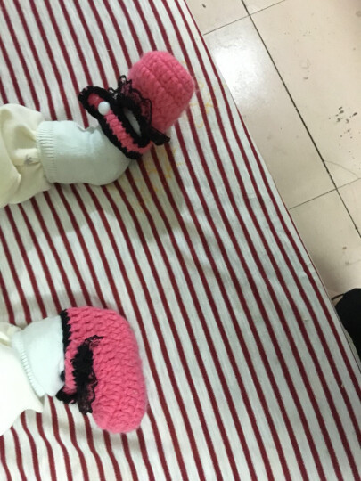 Yamilan 婴儿毛线袜新生儿手工编织鞋袜男女幼儿立体地板袜春秋薄款造型袜子 21# 暗粉侧边白花 0-6个月/脚长10厘米以内 晒单图