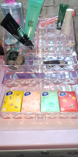 Hello Kitty 美妆工具 创意礼物 化妆棉签 首饰防尘储物收纳盒三层3抽屉 透明粉色KT1323 晒单图