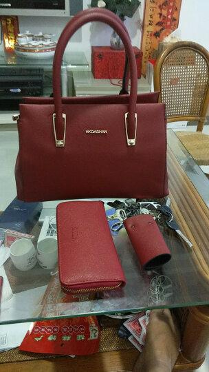 红客 新款女包手提包女子母包欧美时尚单肩包定型斜挎包三件套大包9226 蓝色 晒单图